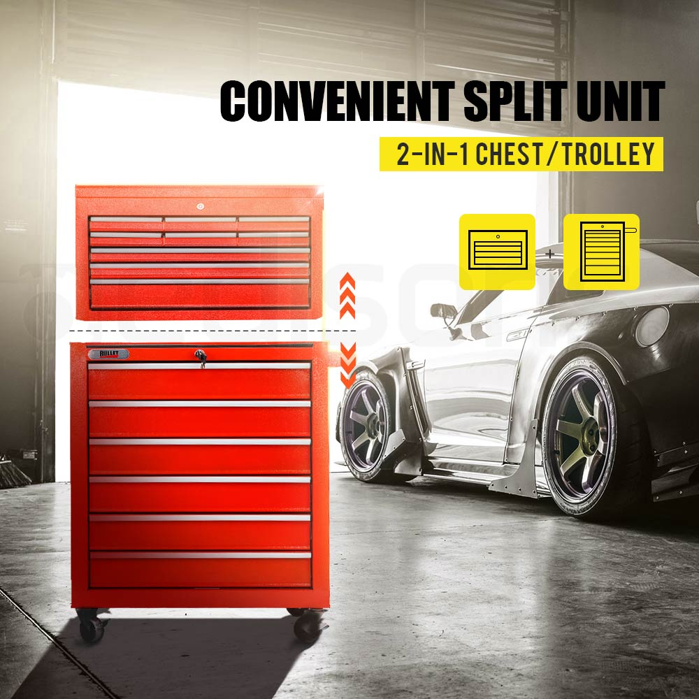 BULLET-15-Drawer-Tool-Box-Storage-Cabinet-Chest-Garage-Trolley-Toolbox-Mechanic thumbnail 51