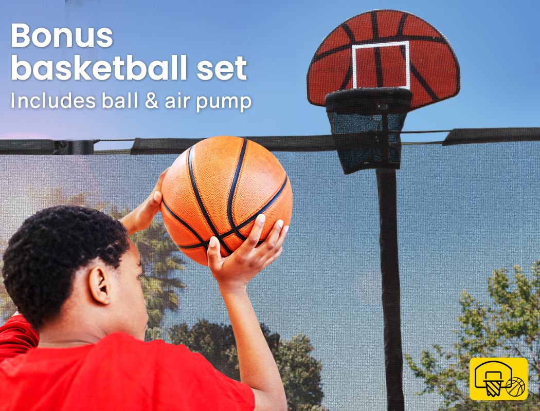 UPSHOT-8-10-12FT-Round-Trampoline-Safety-Net-Pad-Ladder-Spring-Basketball thumbnail 39