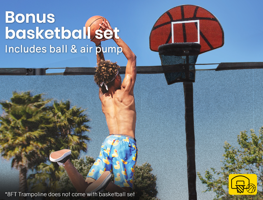 UPSHOT-8-10-12FT-Round-Trampoline-Safety-Net-Pad-Ladder-Spring-Basketball thumbnail 63